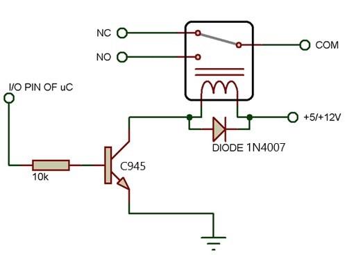 C945 در اتصال رله به میکرو با ترانزیستور